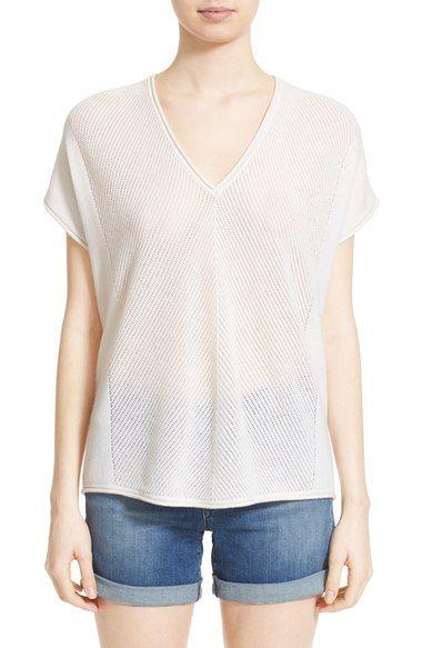 VINCE Chevron Stitch Short Sleeve V-Neck Top. #vince #cloth #