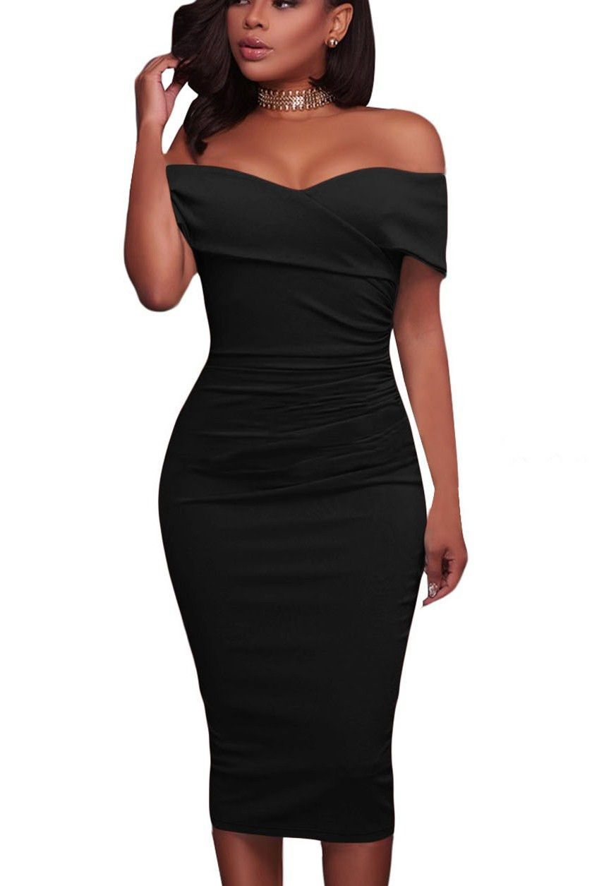 Black Ruched Off The Shoulder Bodycon Formal Midi Dress https   www.modeshe 4fdd2abeecbe