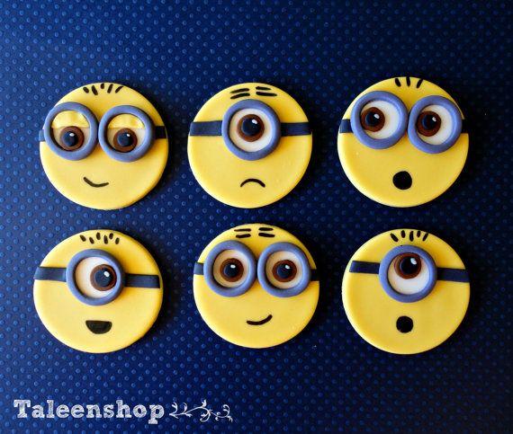 Minions Fondant Cupcake Toppers Animados Cupcakes