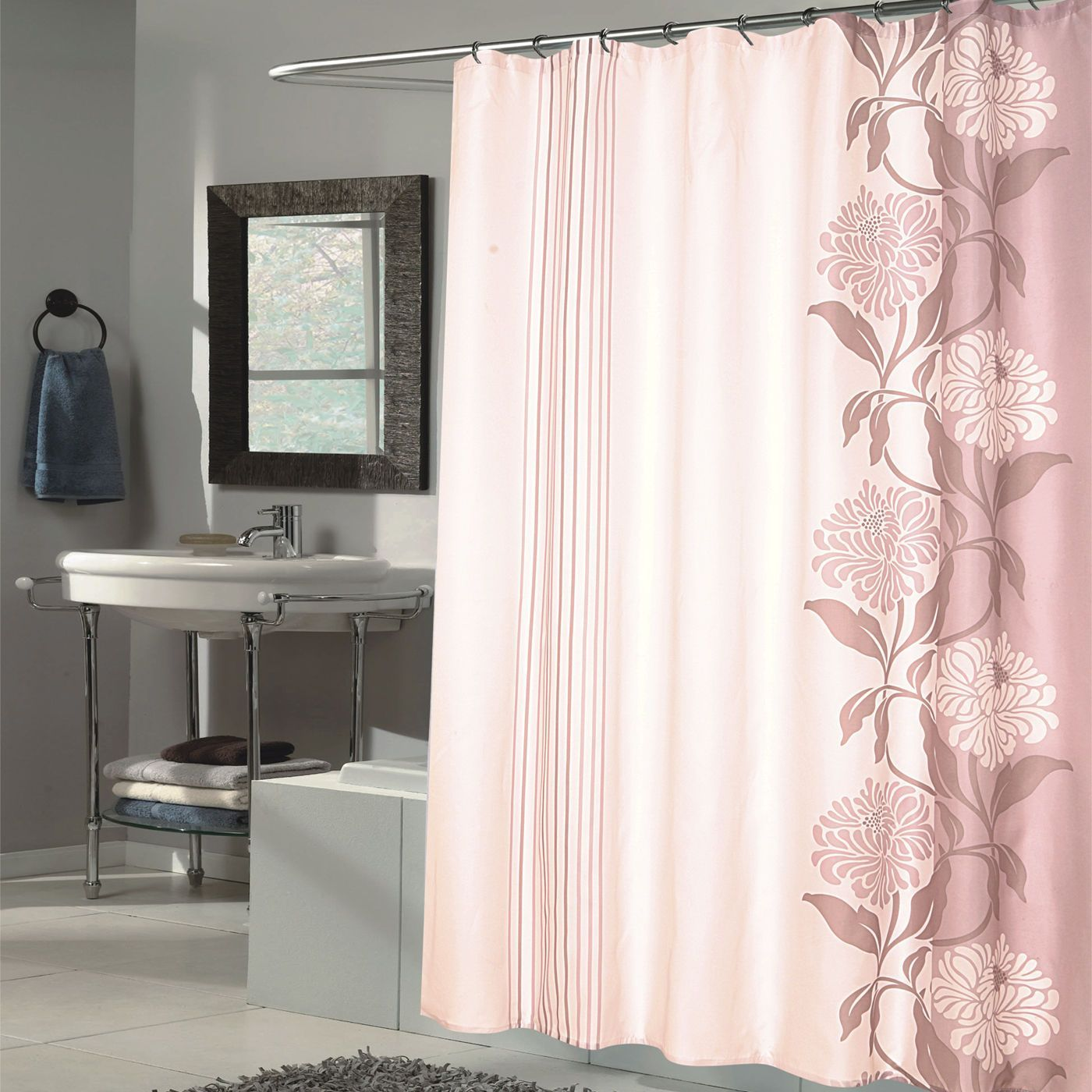 Beautiful Flower Motif Extra Long Fabric Shower Curtain 70 X96