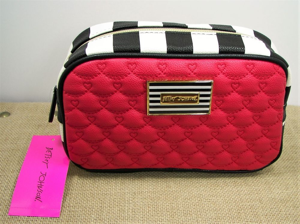 Betsey johnson red quilted heart blk wht stripe faux