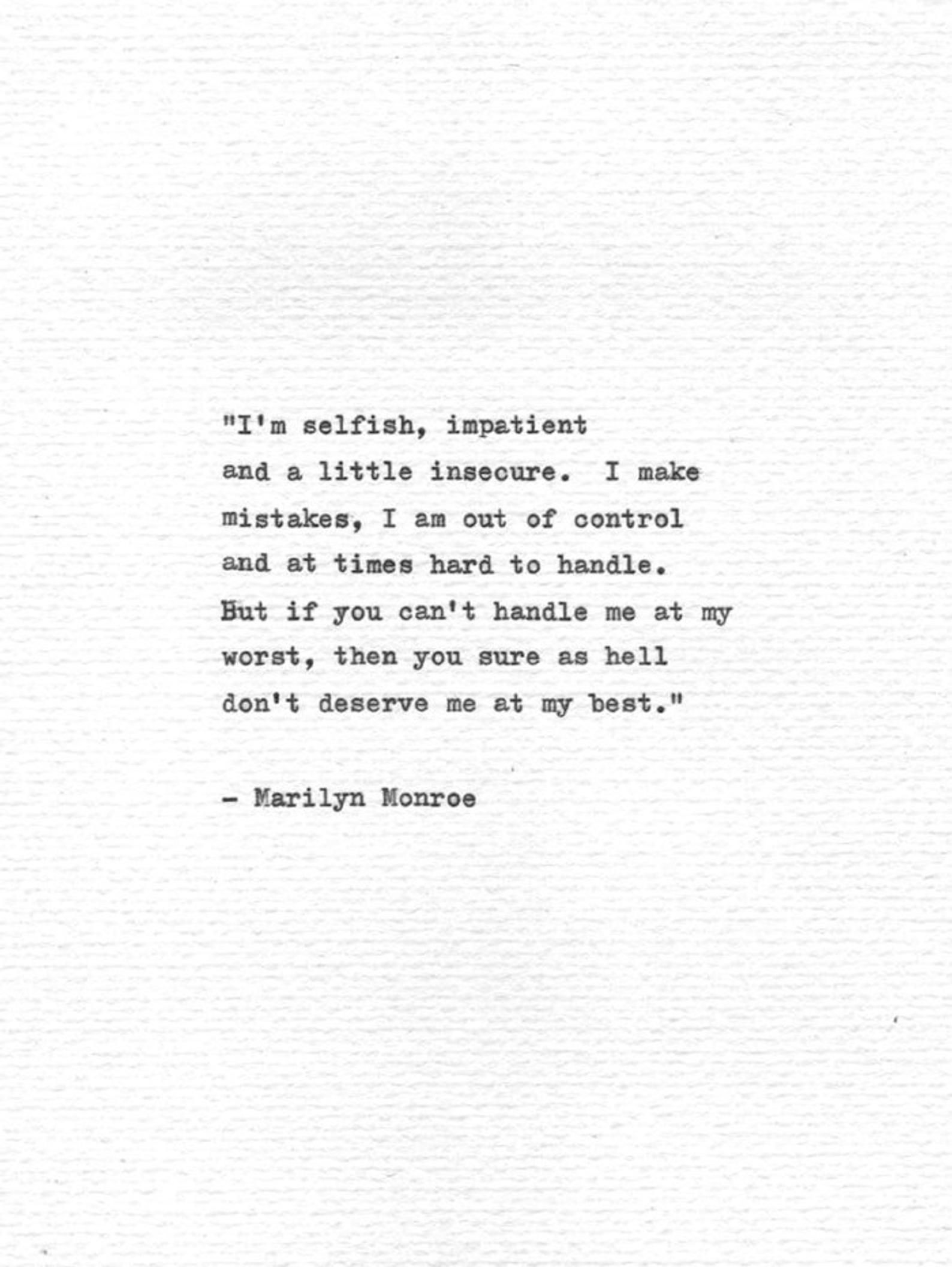 Marilyn Monroe Hand Typed Quote Letterpress Print
