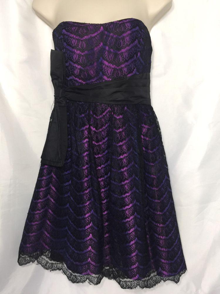 Eric damian dress black lace purple underlay size 6 ladies