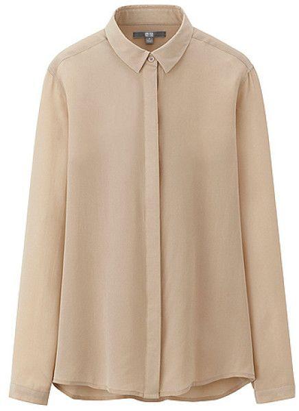 cd71039e62e27d Uniqlo beige silk shirt Collar Blouse