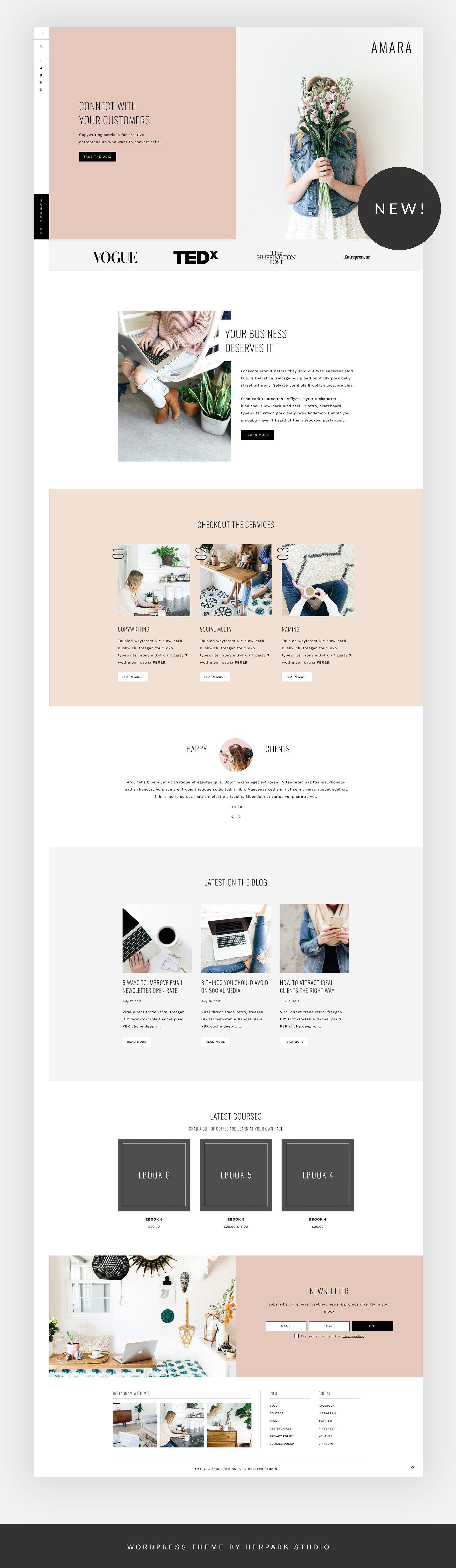 Amara A Theme For Entrepreneurs Genesis Child Themes Feminine Wordpress Theme Website Design Inspiration