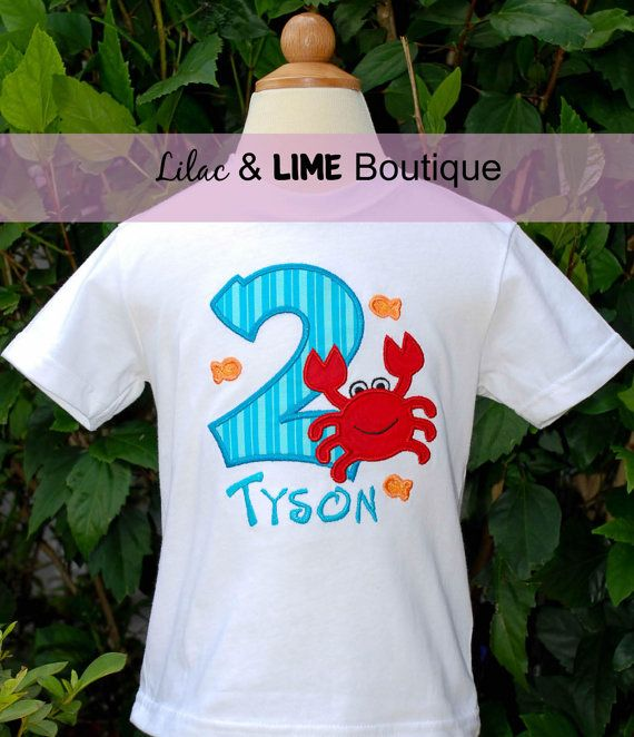 Beachthemed Crab Birthday shirt by LilacAndLime on Etsy, $24.00