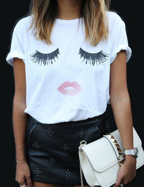 Women Elegant Lashes Lip Print T Shirt Casual Loose Simple O Neck White Top Tees