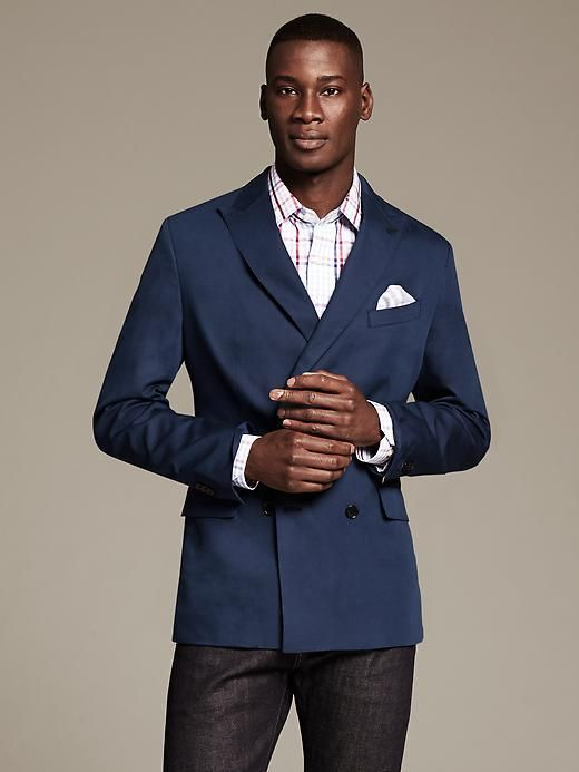 8a65dbe797c Banana Republic Modern Slim-Fit Navy Cotton Linen Double-Breasted Blazer on  shopstyle.com