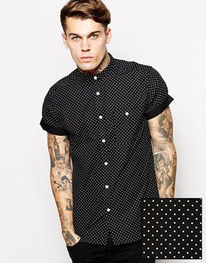 50c254335 Asos Shirt in Short Sleeve With Polka Dot Print and Grandad Collar - Black  on shopstyle.com
