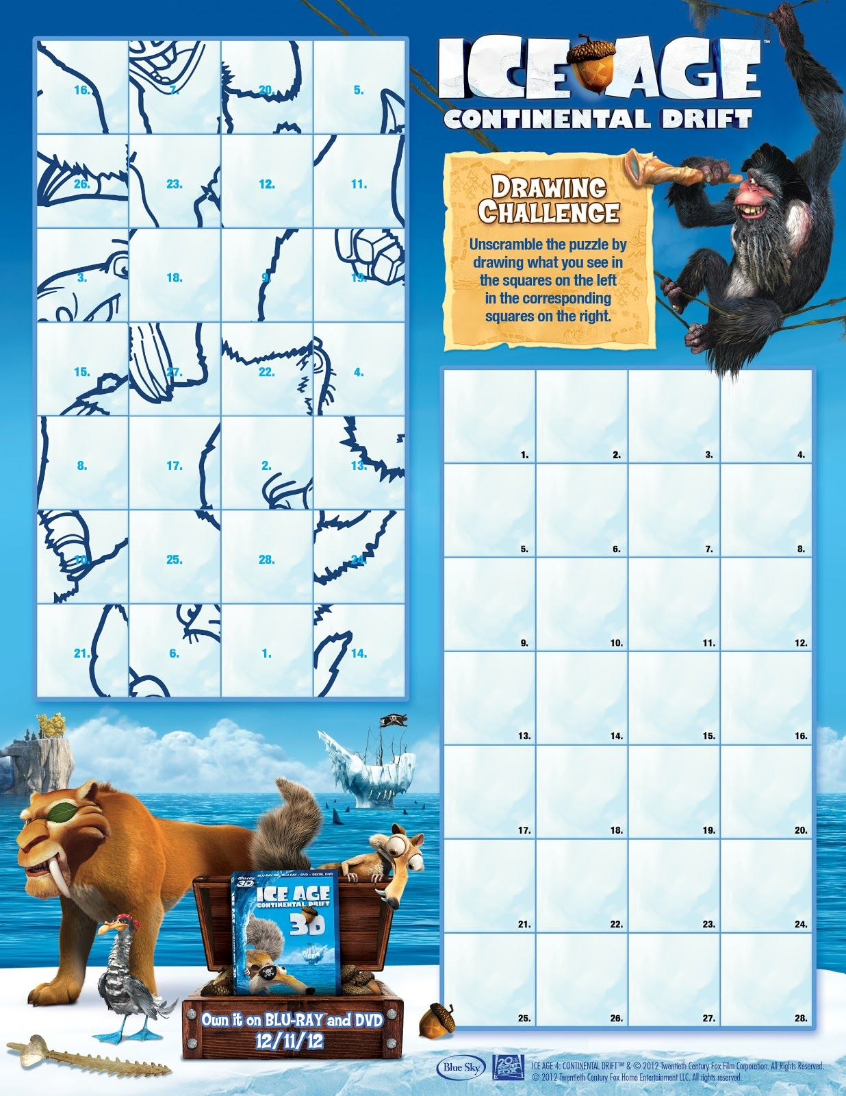 Yee Wittle Things Ice Age Continental Drift Printable