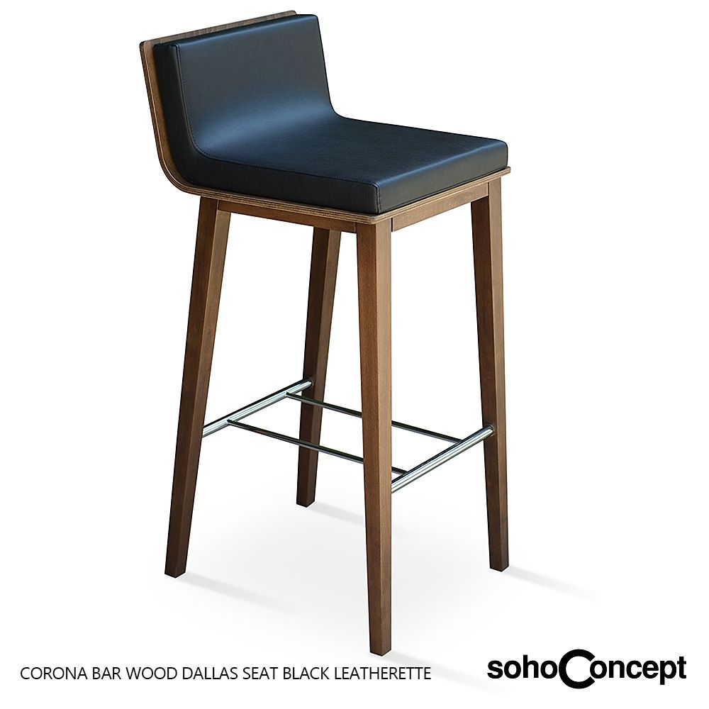 Black Leatherette For Reference On The Dallas Stool Corona Wood With Seat