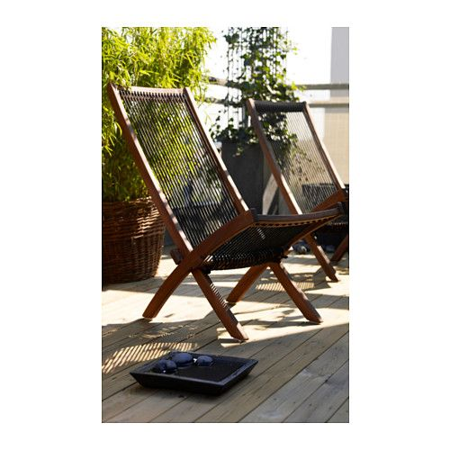 IKEA BROMMÖ Lounger, Outdoor Black/brown Easy To Fold Up And Put Away.