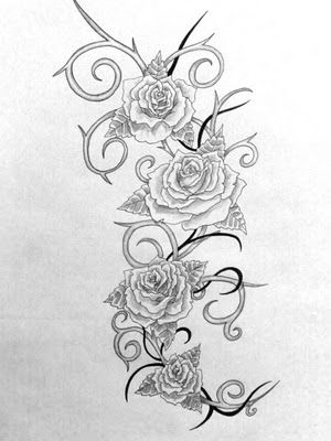 roses and thorns tattoo, less tribal, more organic.
