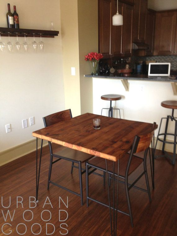 Small reclaimed wood table with hairpin legs for kitchen for Kitchen table sets for small areas