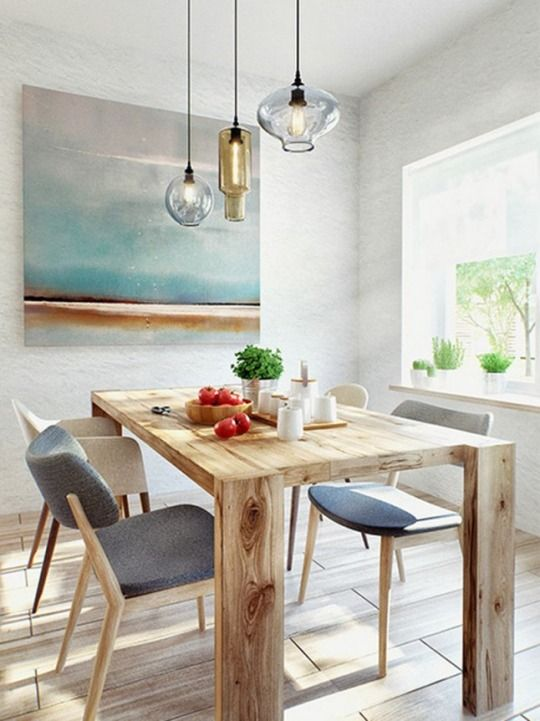 #contemporary #white #dining_room with #solid_wood_table and #modern_chairs