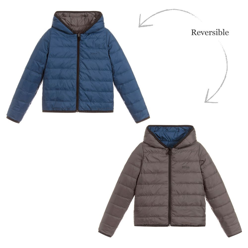 1fc629c7dd5c7 Reversible Down Padded Jacket for Boy by BOSS. Discover the latest designer  Coats   Jackets for kids online
