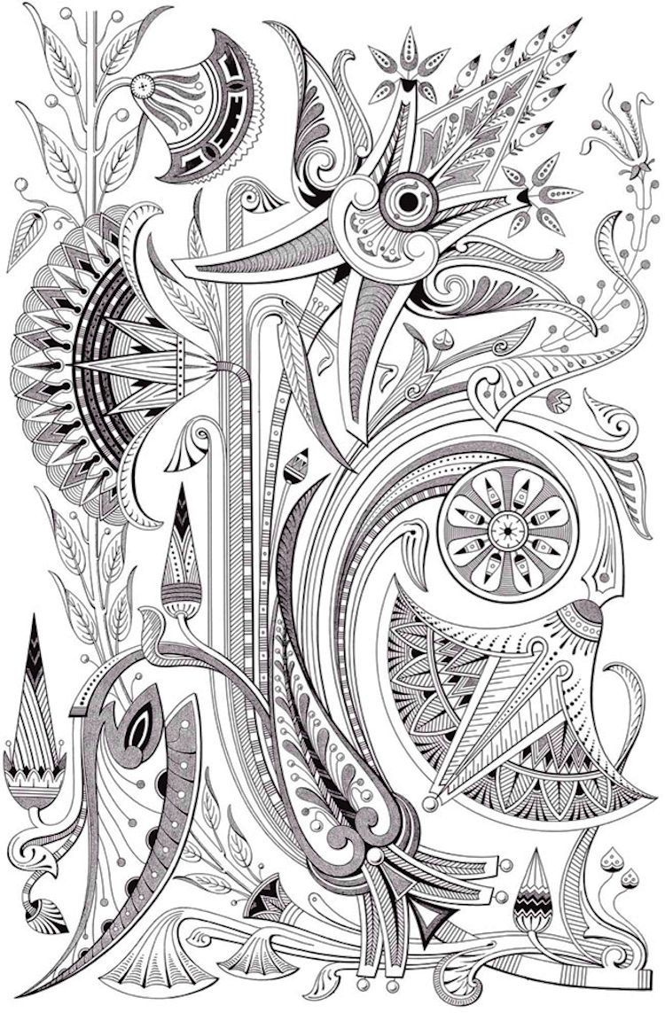 Colouring pages holi - Dover Creative Haven Art Deco Egyptian Designs Coloring Page 3