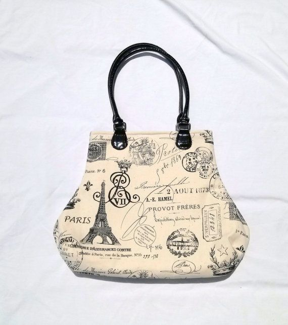 French Script Fabric Handbag Purse Paris Eiffel by SadiesSnippets, $52.00