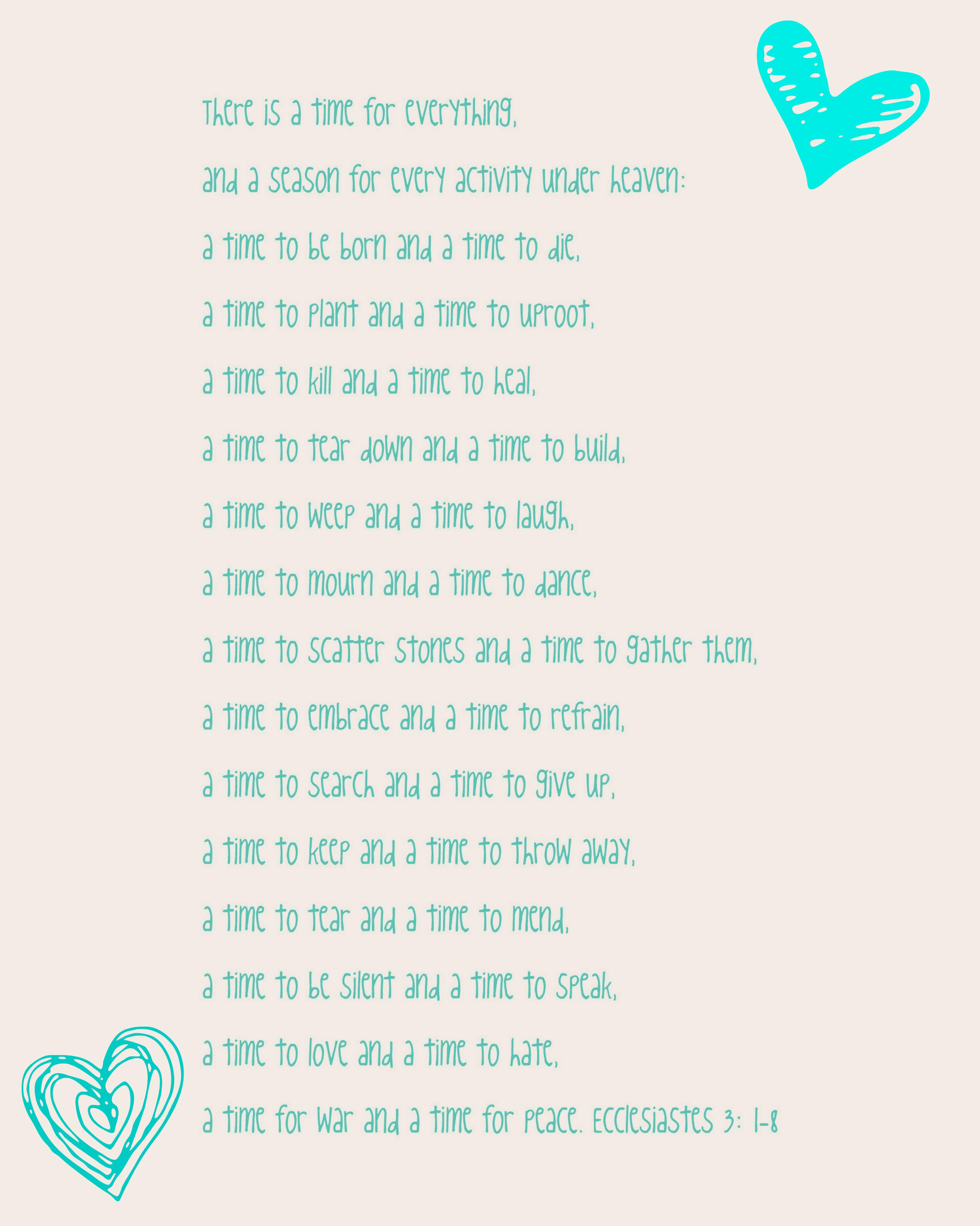 Free Printable Ecclesiastes 31 8 There Is A Time For Everything