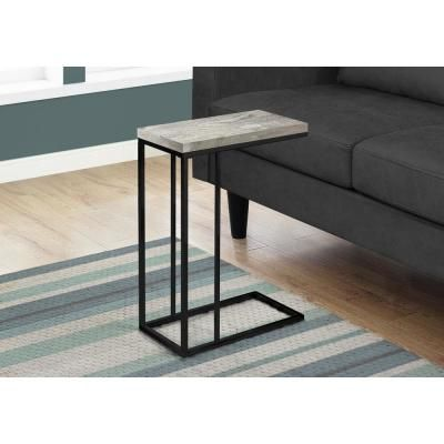 Monarch Specialties Grey Accent Table With Black Metal C Table