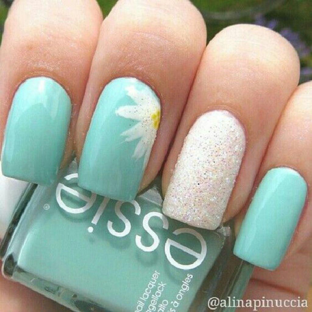 Mint nails with a flower :) | nailsnailsnails | Pinterest | Mint ...