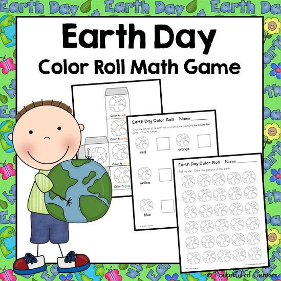 Earth Day Color Roll Game Kindergarten centers Kindergarten and Earth