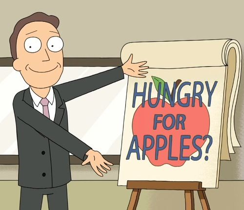 Cartoon Man Advertising Apples Slogan