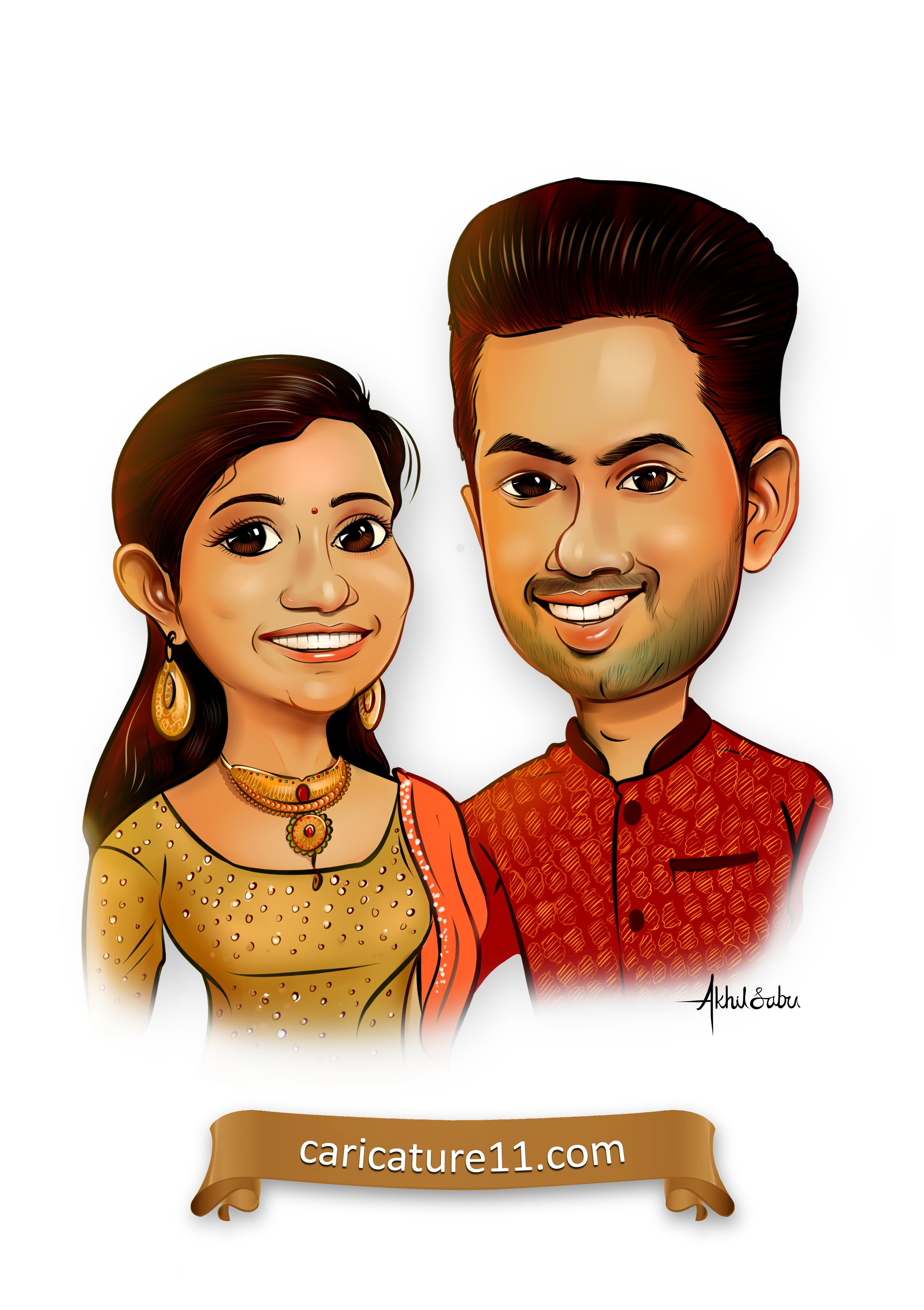 Custom Romantic Portrait Of Husband And Wife Cartoon Portrait Of Couple Quirky Cool Wedding Invites Personalized Save The Date Invitation