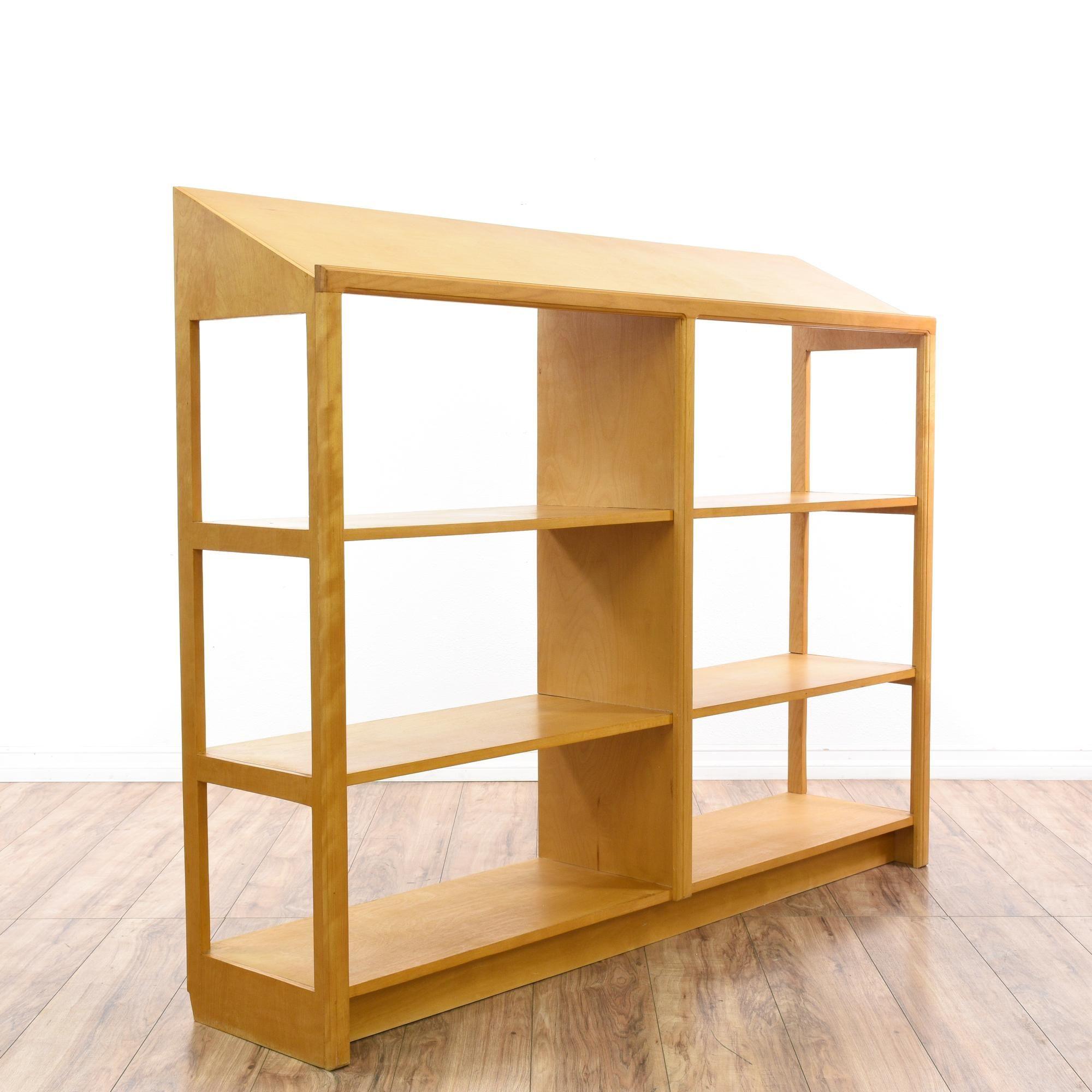 mid century modern maple slant top bookshelf modern bookshelf