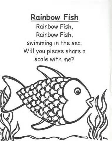 Rainbow Fish Preschool Worksheets rainbow fish rhymes and