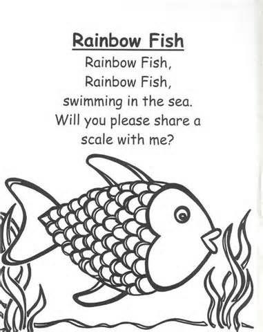 Rainbow fish preschool worksheets rainbow fish rhymes and for Fish songs for preschoolers