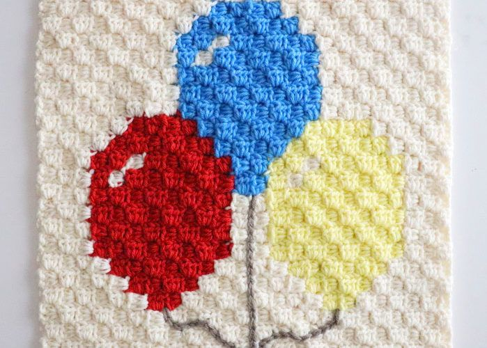 Photo of Balloon C2C Crochet Square – Repeat Crafter Me