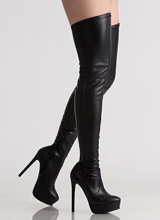 Tall Girl Faux Leather Thigh-High Boots