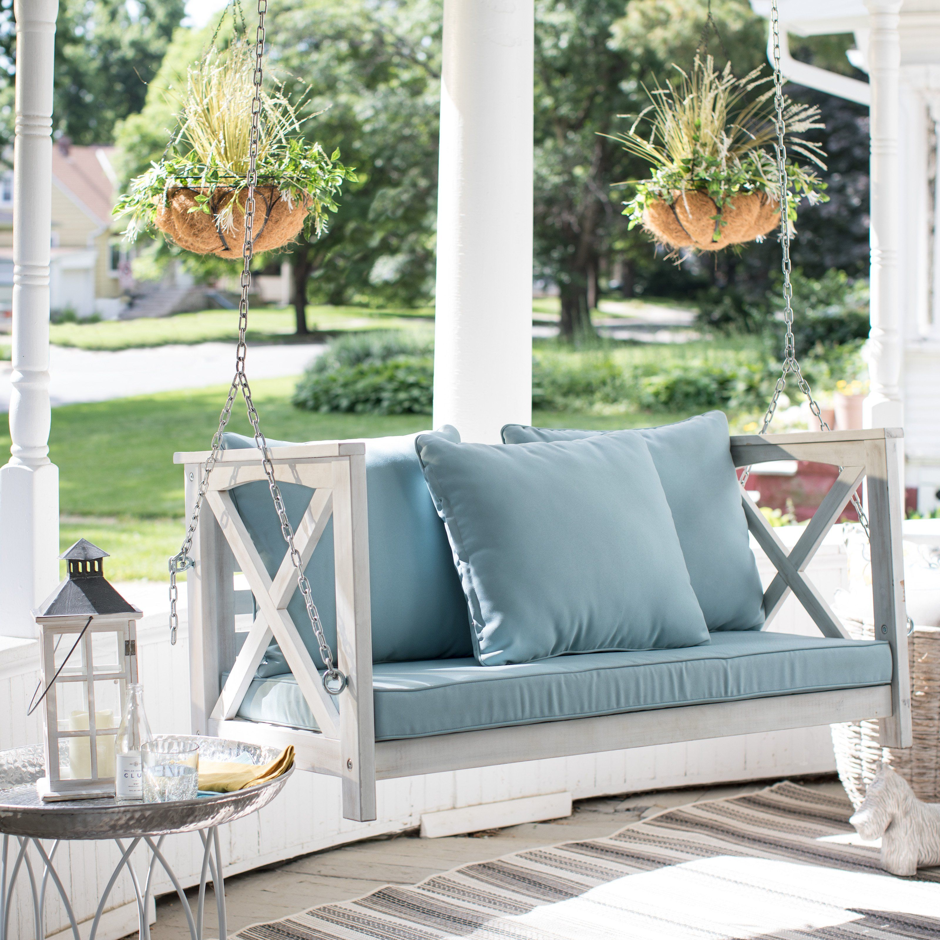 Coral coast delanie rose ft porch swing with cushion cushioned