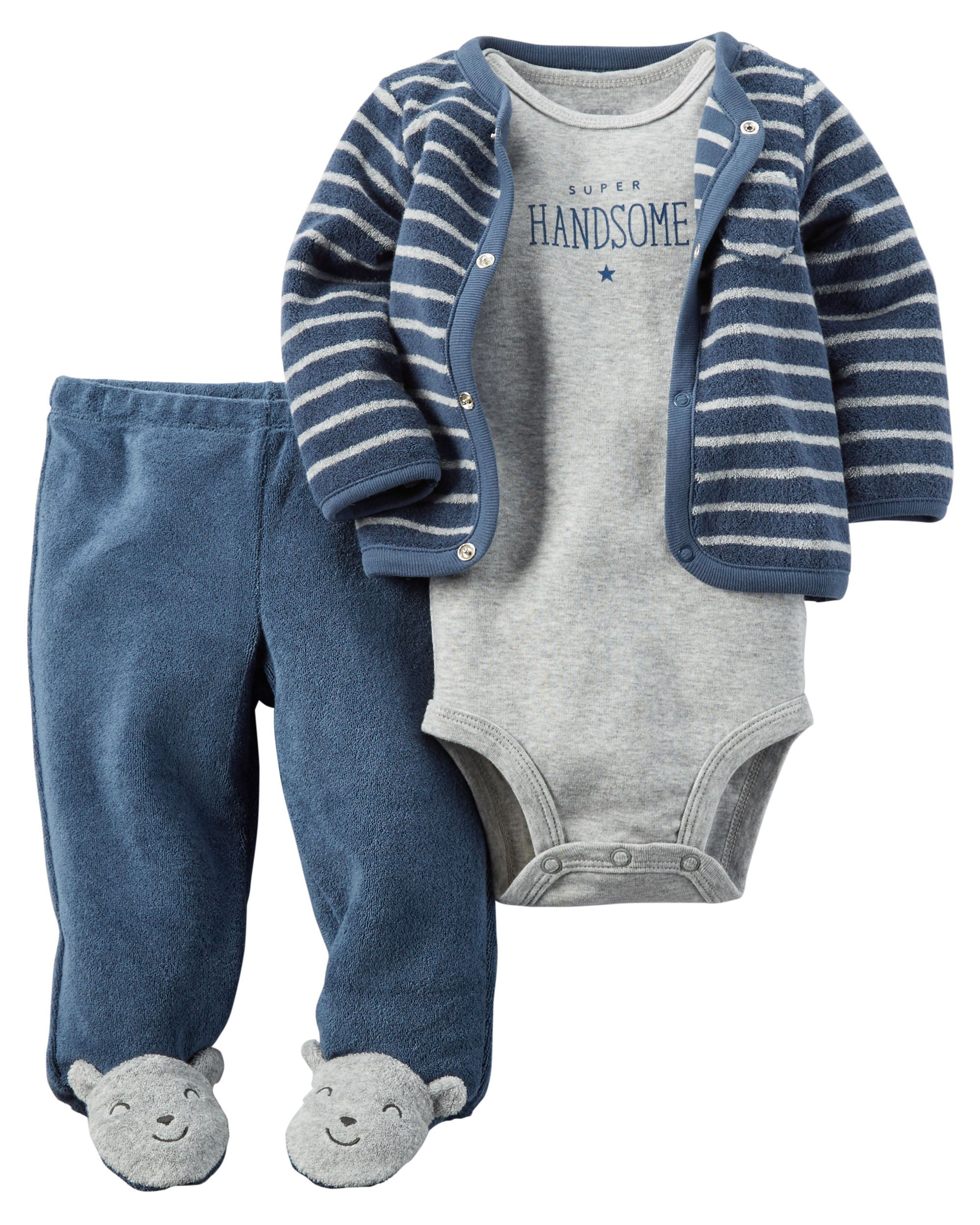 Featuring a short-sleeve bodysuit and cardi to layer, this babysoft cotton set makes a perfect little outfit with essential footed pants. Easy as 1, 2, 3!