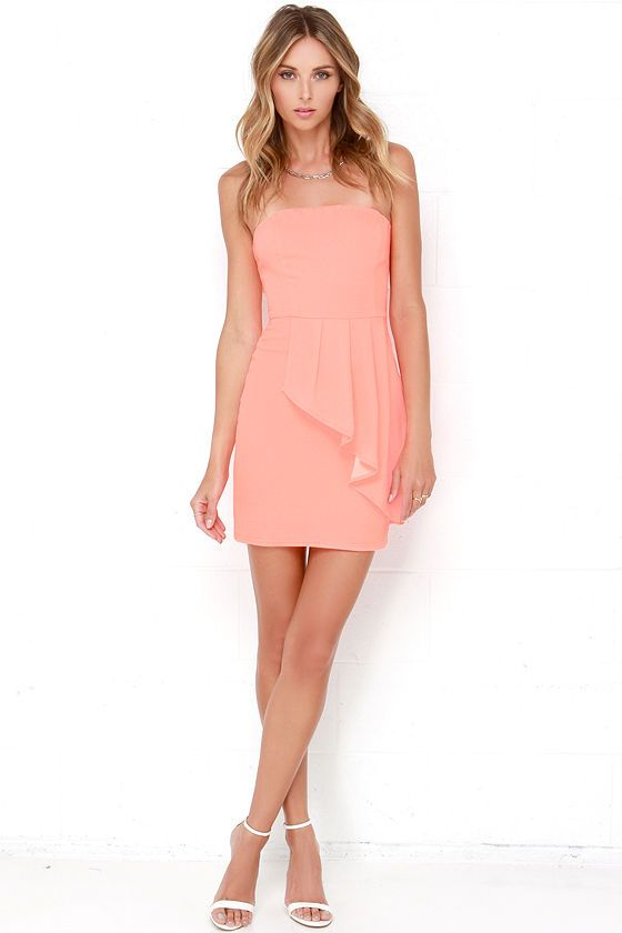 Neon Coral Strapless Dress