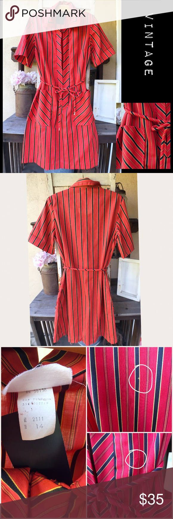 Striped vintage zipup collared dress rope tying red background