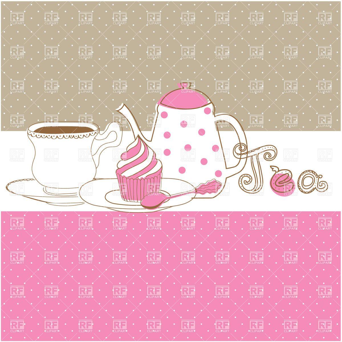Elegant tea party invitation template with teacups cartoon vector - Tea Borders Free Clip Art Tea Drinking Cupcake Teapot And Cup 21858