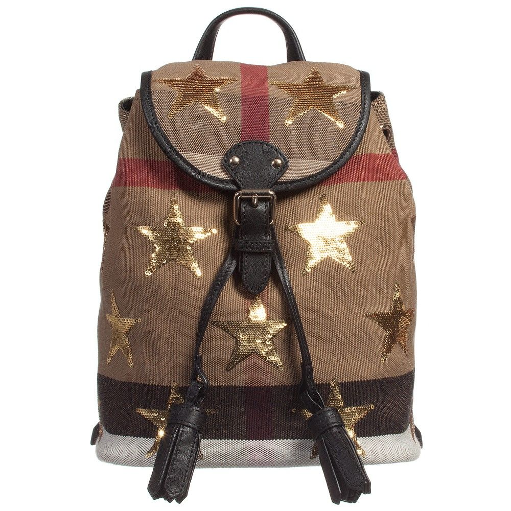 31791f1d1de2 Burberry - Canvas   Leather Check Gold Star Mini Backpack (28cm ...