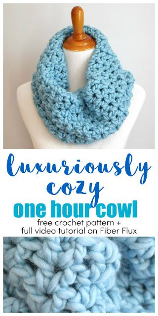 Luxuriously Cozy One Hour Cowl #crochetscarves