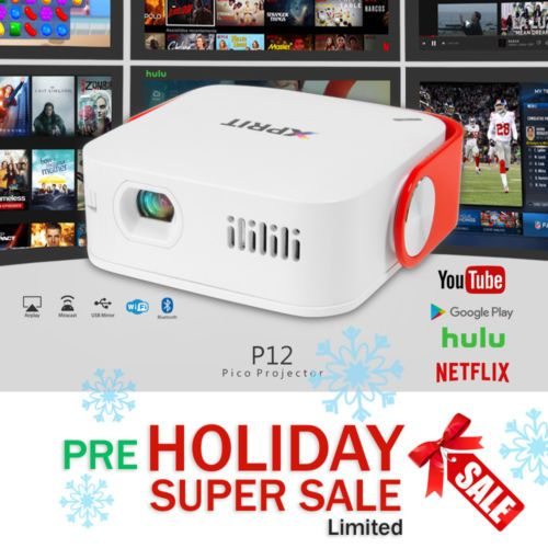 HD Smart Android LED Projector Video Wifi Bluetooth Home Theater