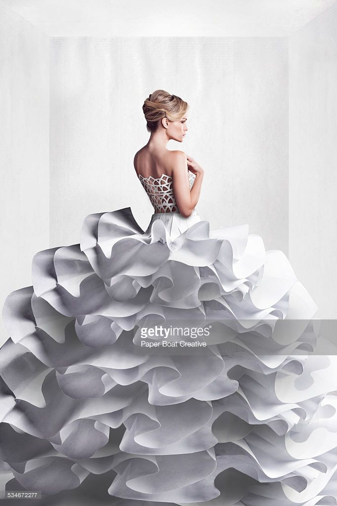 View Stock Photo Of Beautiful Lady In White Paper Craft Wedding Dress Find Premium High Resolution Photos At Getty Images