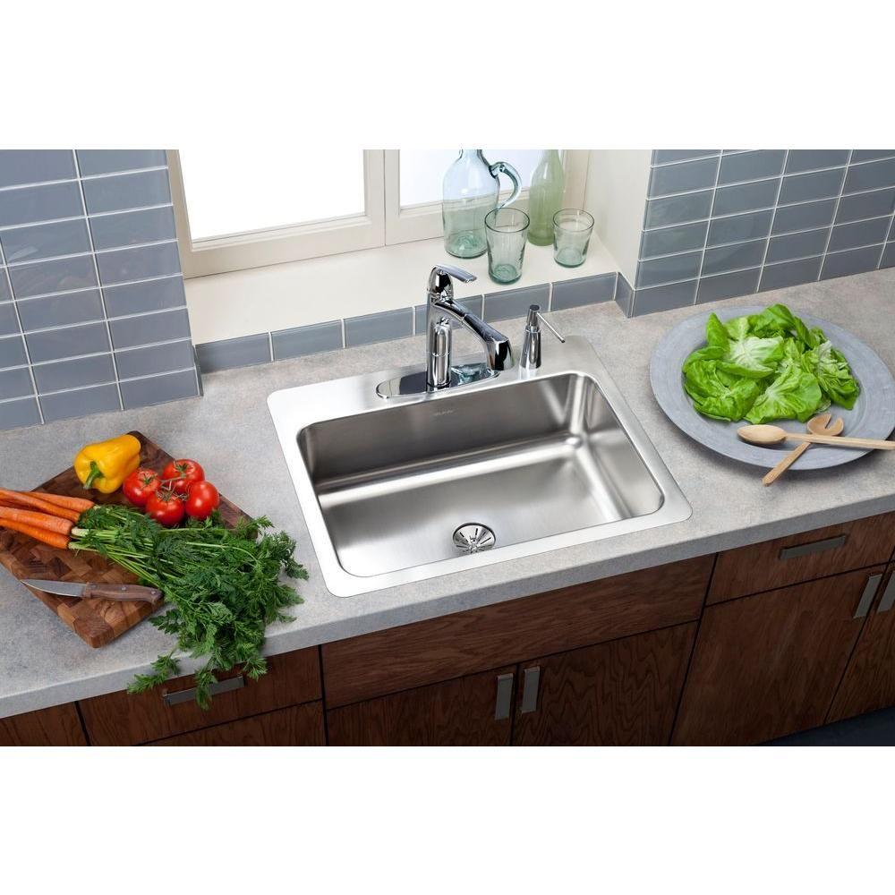 Elkay Innermost Perfect Drain Drop In Stainless Steel 27 In 4 Hole Single Bowl Kitchen Sink Hd523566 The Home Depot Single Bowl Kitchen Sink Kitchen Models Elkay