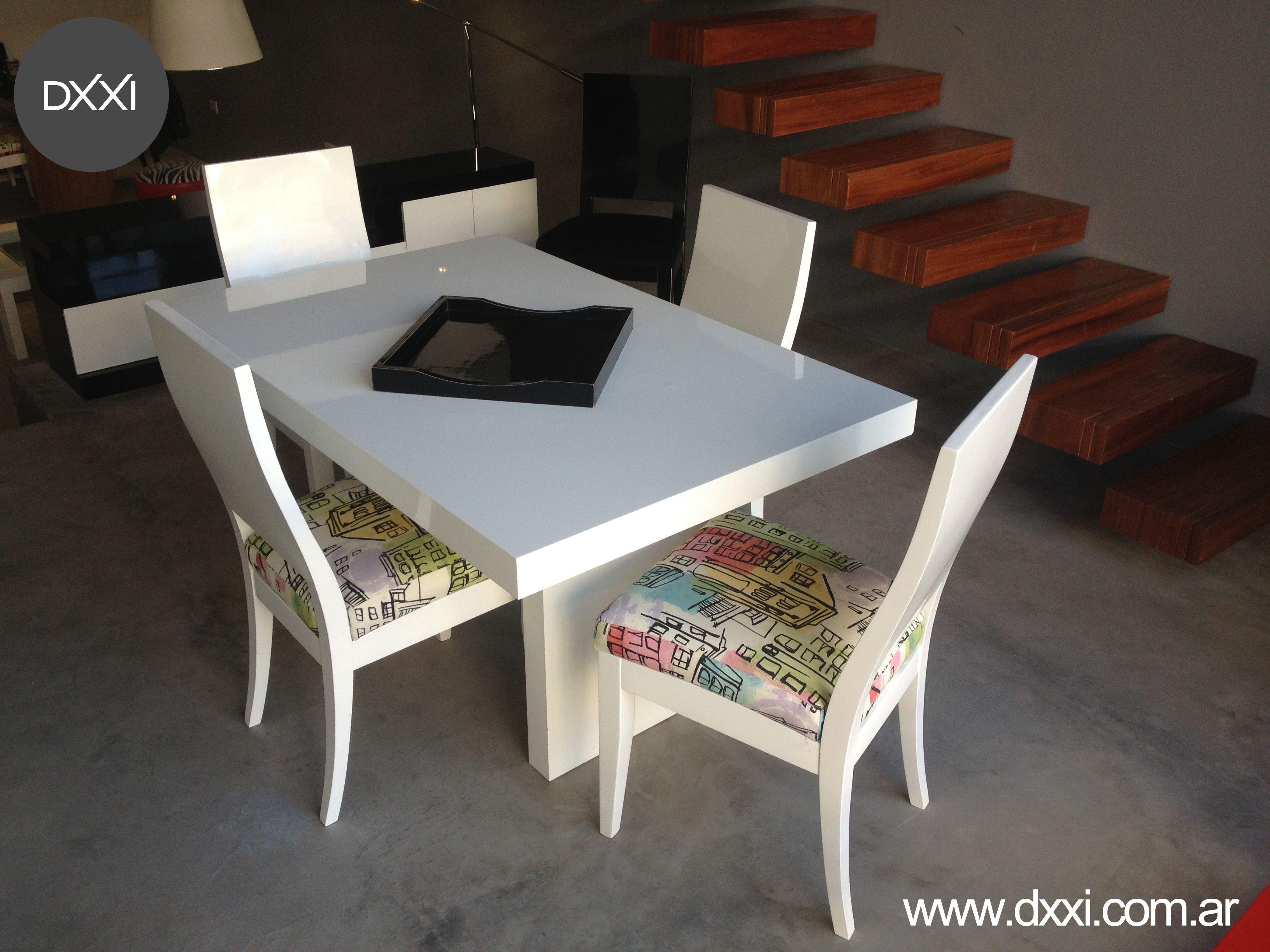Mesa De Comedor Modelo Tt Mdf Laqueado Blanco Brillante Www Dxxi  # Muebles Nicasio Orono
