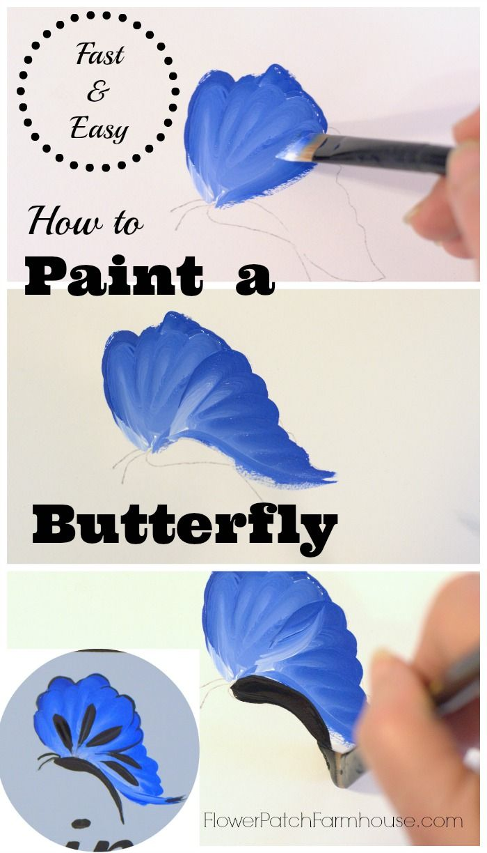 How to Paint a Fast and Easy Butterfly, FlowerPatchFarmhouse.com #tolepainting
