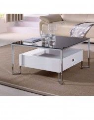 Hover Black Top Glass Table With White Storage Coffee Table With