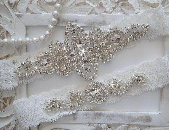 Wedding Garter Set Bridal Vintage Lace Crystal