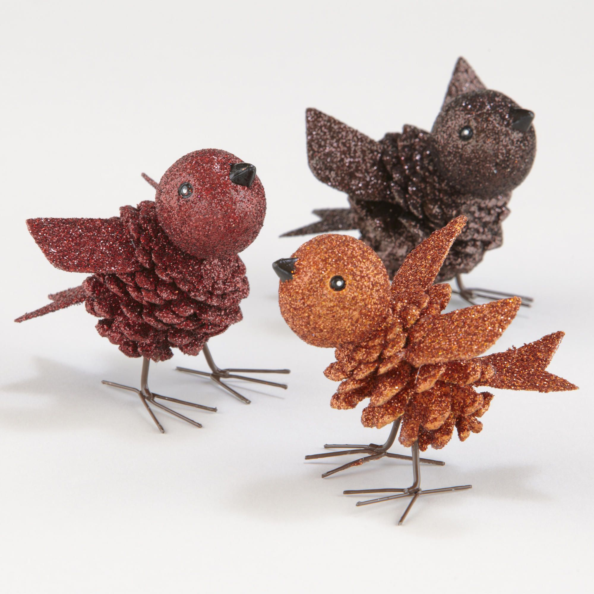 Glitter Pinecone Birds Tabletop D Cor, Set Of 3 -