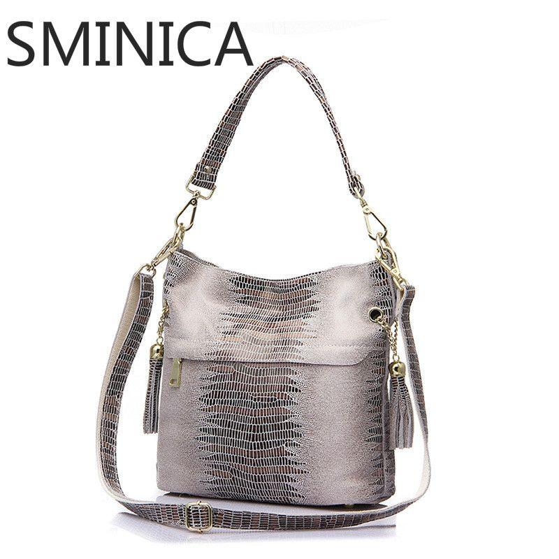 8e7c6a6e1fa Leather · SMINICA brand crocodile pattern genuine leather bags female  shoulder ...