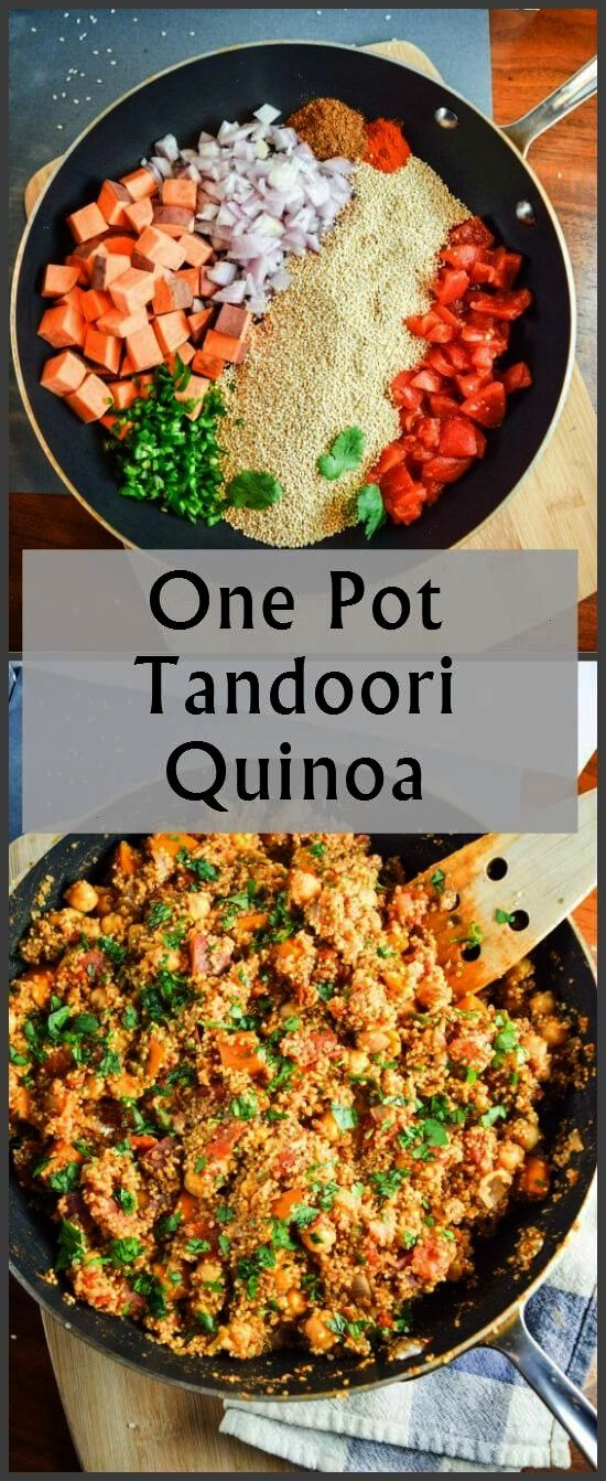 after pictures of fresh ingredients - sweet potatoes, red onion, jalapeno, tomato, and quinoa - and